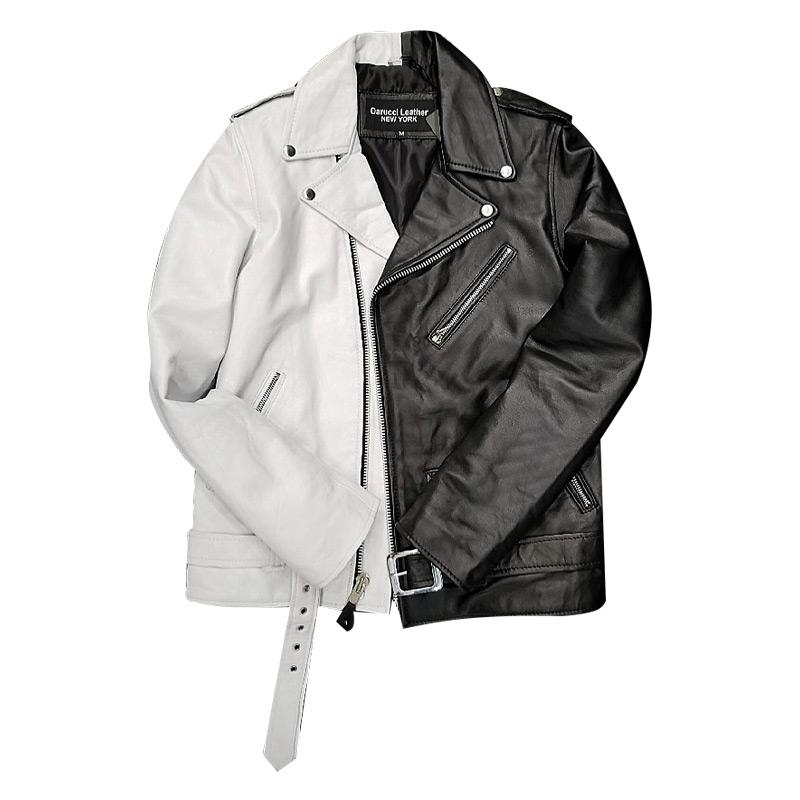 Half And Half Biker Jacket Black White