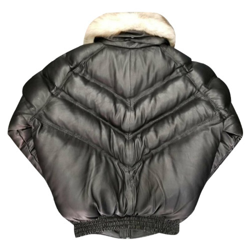 c3757046c536 V-BOMBER BLACK WITH OFF WHITE FUR