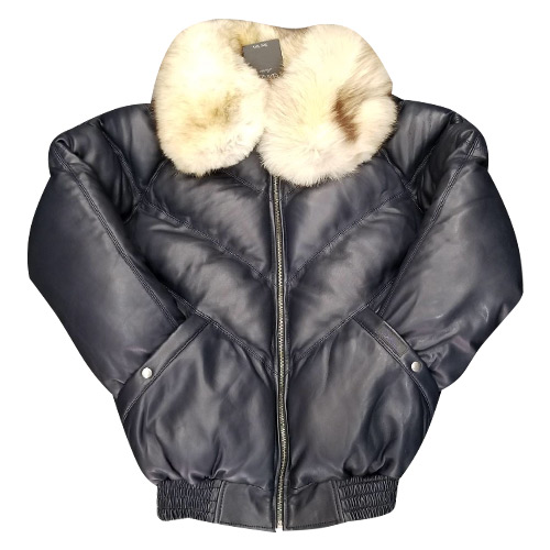 V-BOMBER NAVY BLUE WITH OFF WHITE FUR