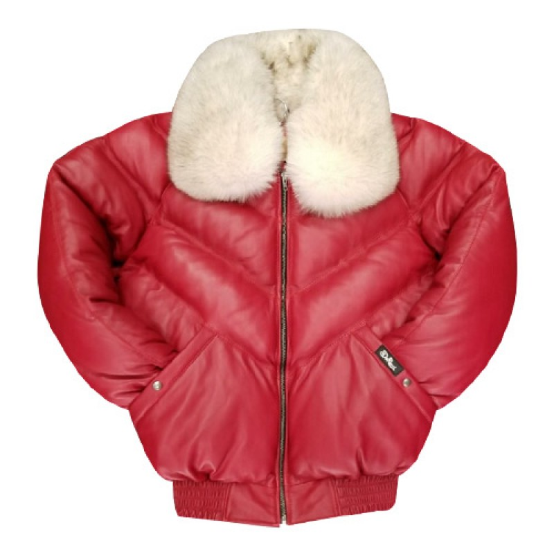 26f728b8b6c6 V-BOMBER RED WITH OFF WHITE FUR 100 % sheepskin