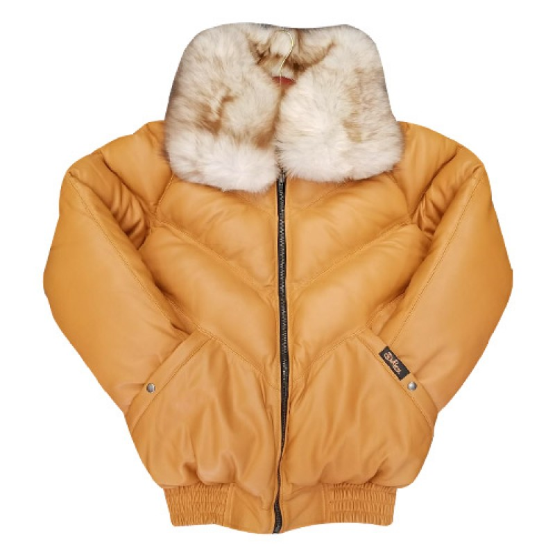 156f6b3d74f V-BOMBER TAN WITH OFF WHITE FUR