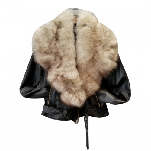 PLAIN BLACK BIKER WITH OFF WHITE FUR COLLAR- WOMEN
