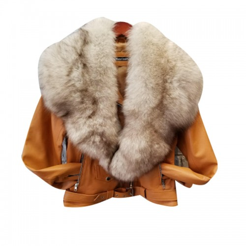 PLAIN TAN BIKER WITH OFF WHITE FUR COLLAR- WOMEN