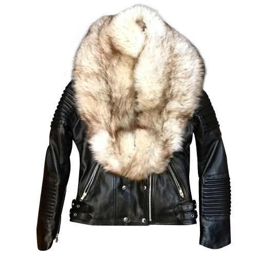 BIKER RIBBLES WITH OFF WHITE FOX FUR-BLACK
