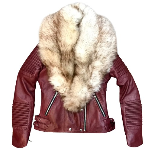 BIKER RIBBLES WITH WHITE FOX FUR-BURGUNDY