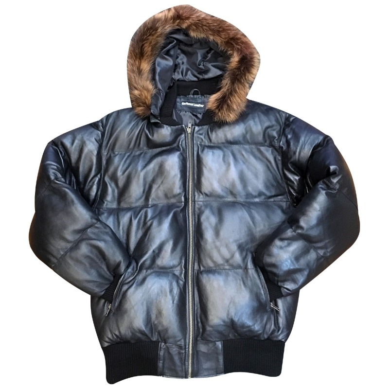 GOOSE DOWN BUBBLE JACKET WITH BROWN FOX 100 % sheepskin