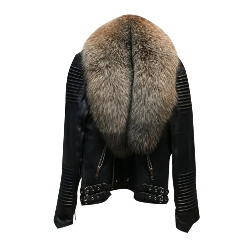 BIKER RIBBLES BLACK WITH CRYSTAL FOX FUR