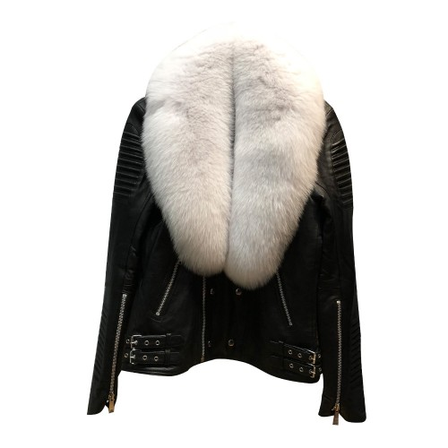 BIKER RIBBLES BLACK WITH PEARL WHITE FOX FUR