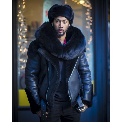 BLACK SHEEPSKIN SHEARLING BIKER STYLE WITH BLACK FOX FUR