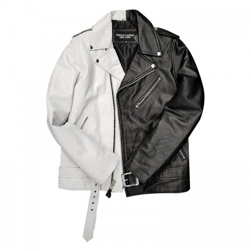 HALF AND HALF BIKER JACKET-BLACK & WHITE