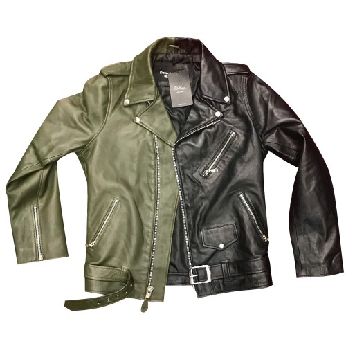 HALF AND HALF BIKER JACKET- BLACK & OLIVE GREEN