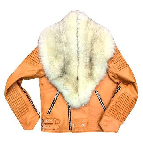 TAN MEN RIBBLES BIKER WITH OFF WHITE FUR