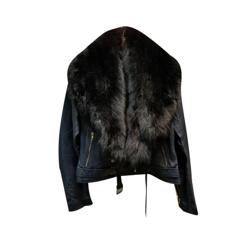 PLAIN NAVY BLUE BIKER WITH BLACK FUR COLLAR- WOMEN