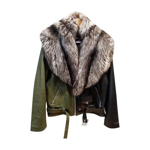 HALF AND HALF BIKER JACKET WITH SLIVER FOX- BLACK & OLIVE GREEN