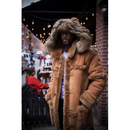 TAN SUEDE  SHEEPSKIN SHEARLING 3/4 STYLE WITH NATURAL FOX HOOD