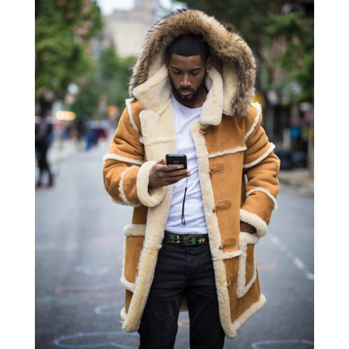 TIMBERLAND TAN SHEEPSKIN SHEARLING 3/4 STYLE WITH NATURAL FOX HOOD