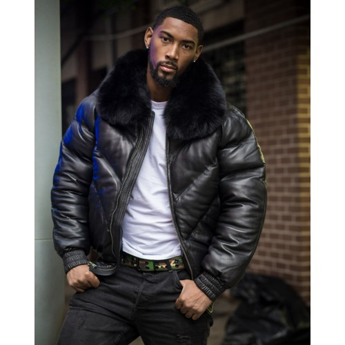 V-BOMBER BLACK WITH BLACK FUR