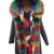 BLACK PARKA WITH RAINBOW COLOR FUR