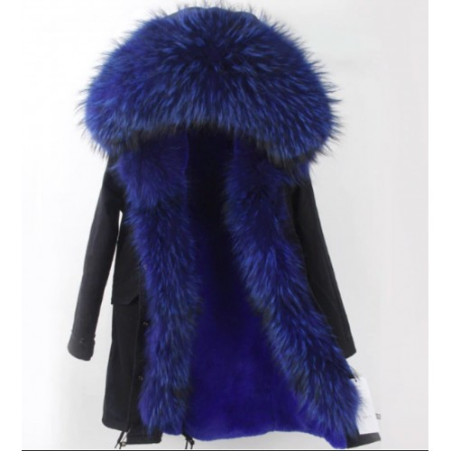 BLACK PARKA WITH ROYAL BLUE FOX FUR