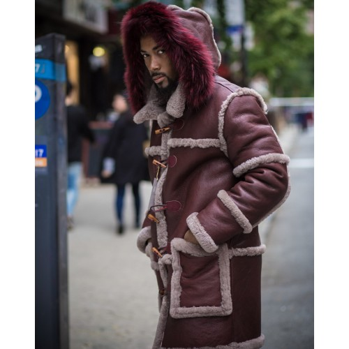 BURGUNDY  SHEEPSKIN SHEARLING 3/4 WITH BURGUNDY FOX COLLAR