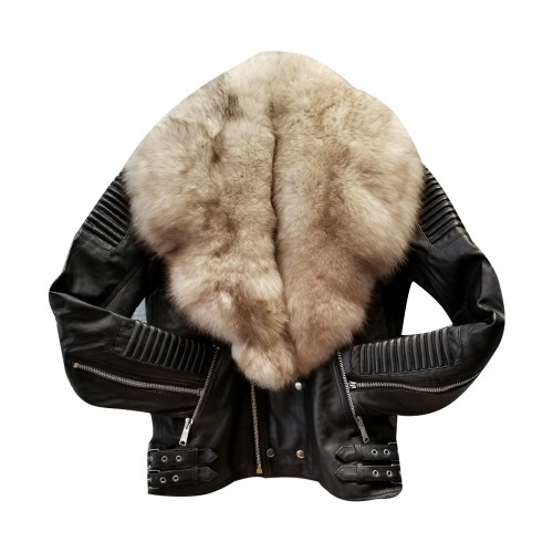 BIKER RIBBLES BLACK WITH OFF WHITE FOX FUR