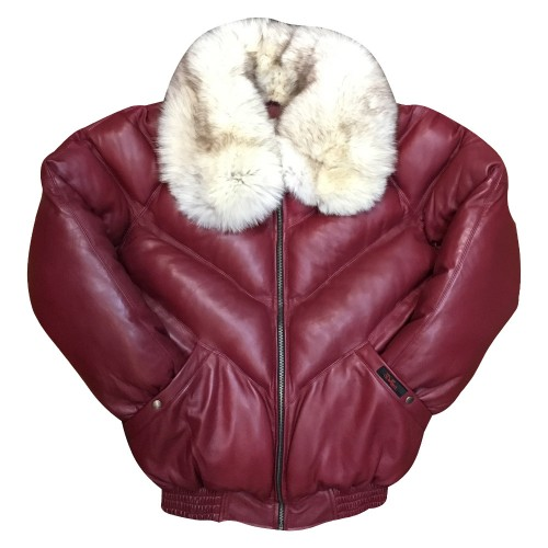 V-BOMBER BURGUNDY WITH WHITE FOX