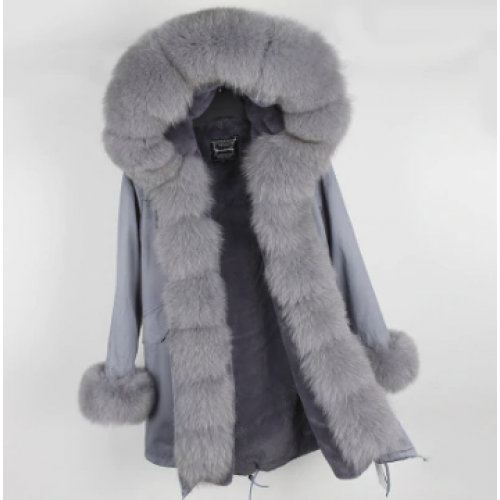 GREY PARKA WITH GREY COLOR FUR