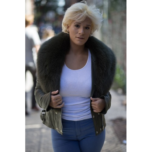 OLIVE GREEN BIKER RIBBLES WITH GREEN FUR COLLAR- WOMEN