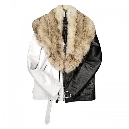 HALF AND HALF BIKER JACKET WITH WHITE FOX FUR- BLACK & WHITE