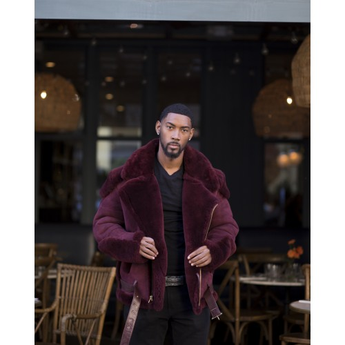 BURGUNDY SHEEPSKIN SHEARLING BIKER STYLE WITHOUT FUR